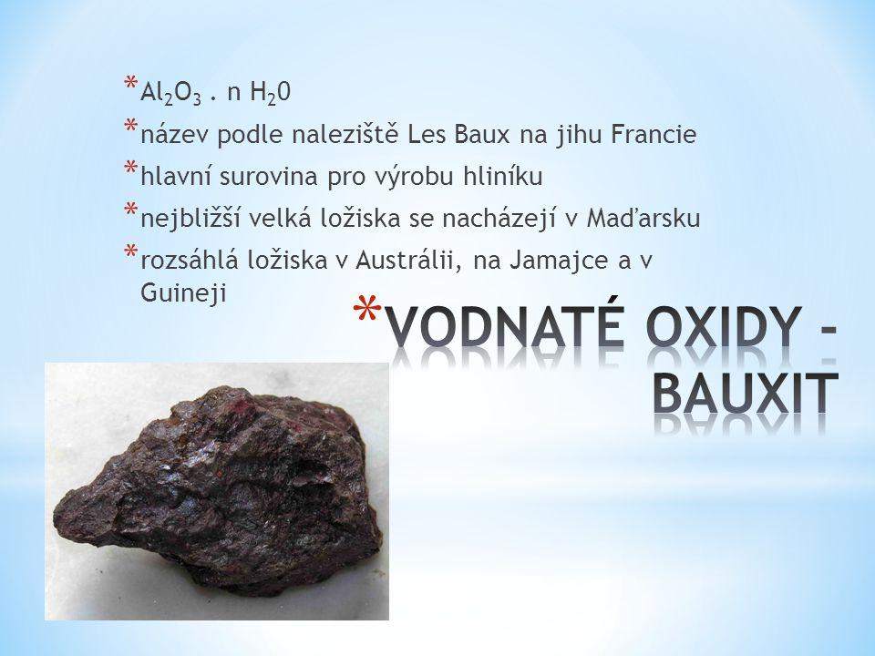 * Al 2 O 3. n H 2 0 * název podle naleziště Les Baux na jihu Francie * hlavní surovina pro výrobu hliníku * nejbližší velká ložiska se nacházejí v Maď