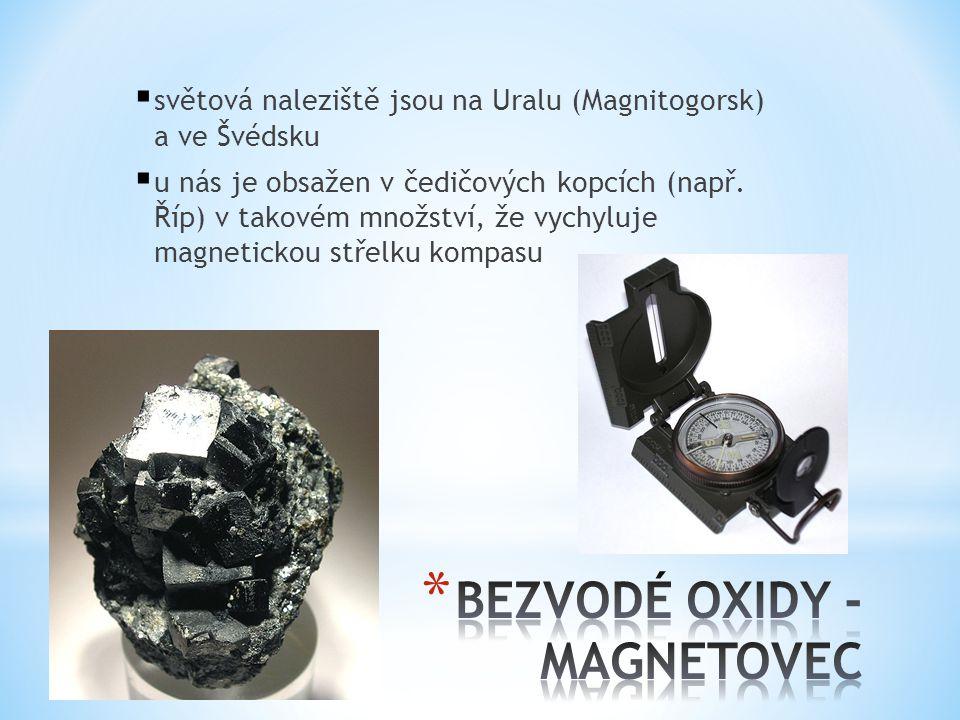  světová naleziště jsou na Uralu (Magnitogorsk) a ve Švédsku  u nás je obsažen v čedičových kopcích (např. Říp) v takovém množství, že vychyluje mag