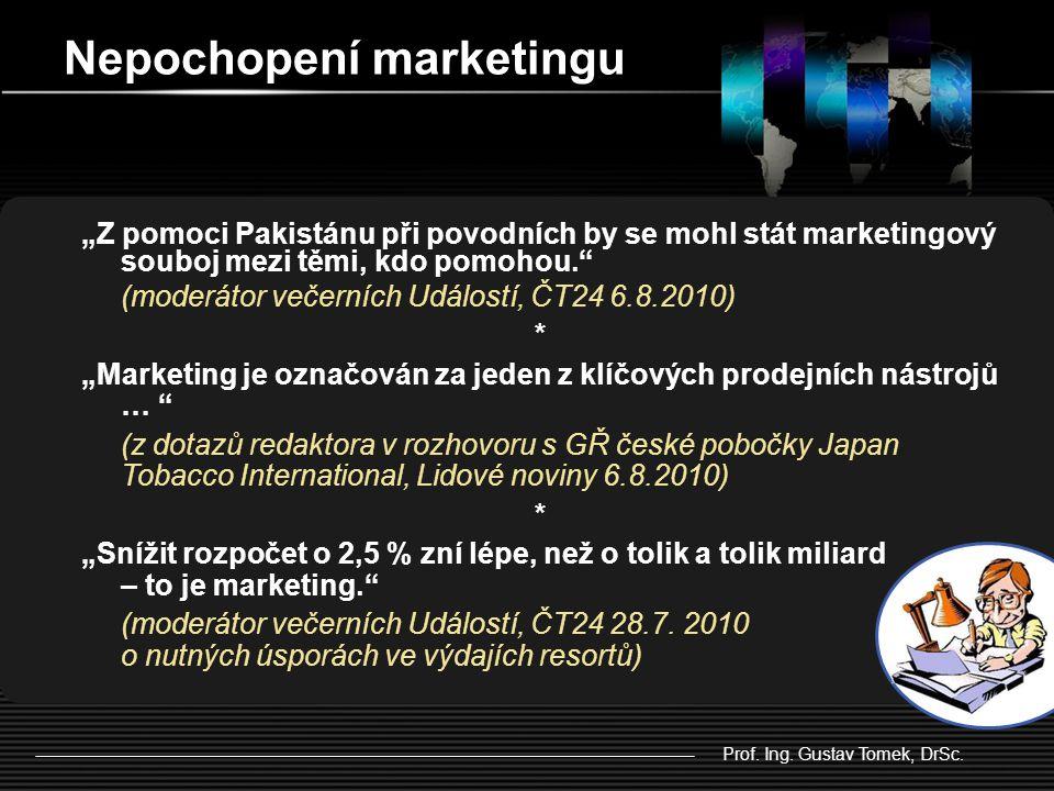 """""""Z pomoci Pakistánu při povodních by se mohl stát marketingový souboj mezi těmi, kdo pomohou. (moderátor večerních Událostí, ČT24 6.8.2010) * """"Marketing je označován za jeden z klíčových prodejních nástrojů … (z dotazů redaktora v rozhovoru s GŘ české pobočky Japan Tobacco International, Lidové noviny 6.8.2010) * """"Snížit rozpočet o 2,5 % zní lépe, než o tolik a tolik miliard – to je marketing. (moderátor večerních Událostí, ČT24 28.7."""