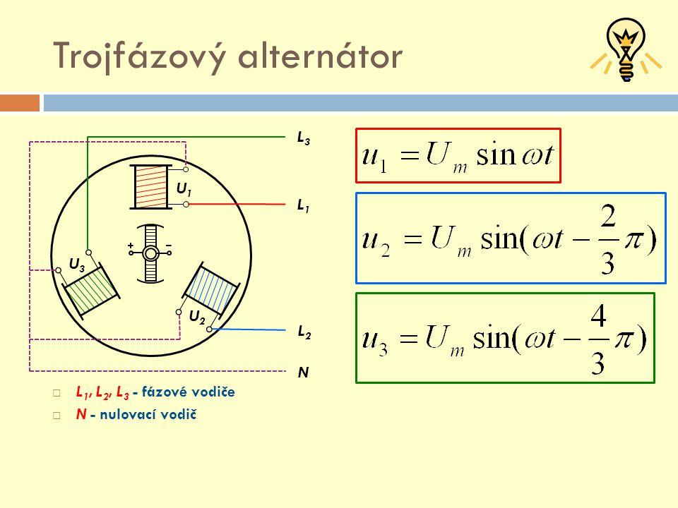Fázové a sdružené napětí  Spojení do trojúhelníku  L1, L2, L3 - fázové vodiče  N - nulovací vodič L1L1 L2L2 L3L3 N