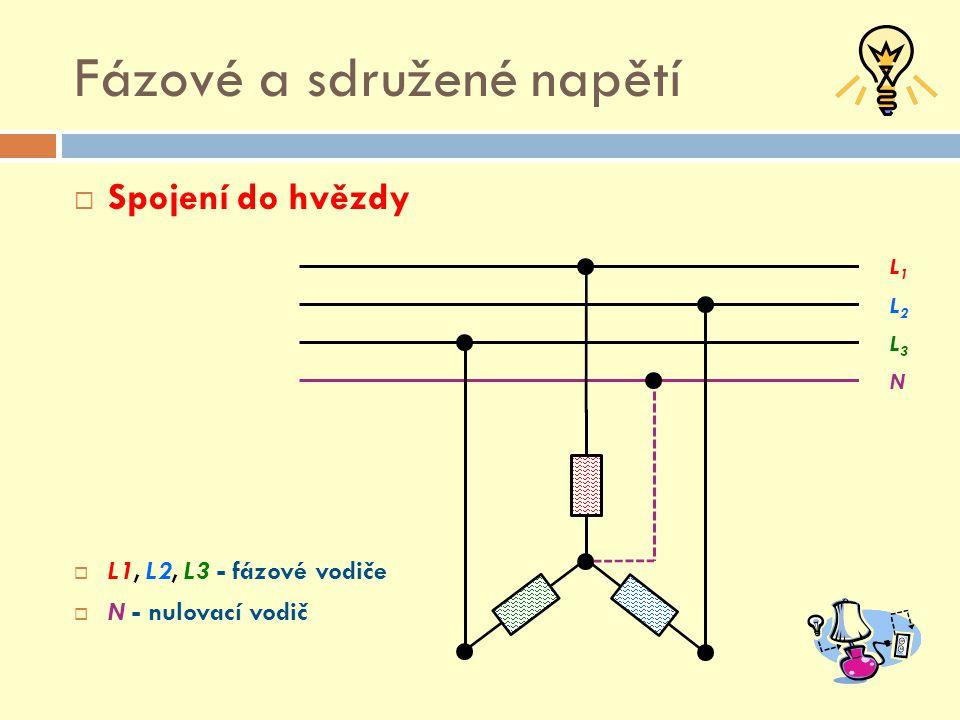 Fázové a sdružené napětí  Fázové napětí  3 x 230 V  Mezi fázovými a nulovacím vodičem L1L1 L2L2 L3L3 N