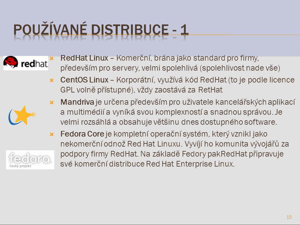  RedHat Linux – Komerční, brána jako standard pro firmy, především pro servery, velmi spolehlivá (spolehlivost nade vše)  CentOS Linux – Korporátní, využívá kód RedHat (to je podle licence GPL volně přístupné), vždy zaostává za RetHat  Mandriva je určena především pro uživatele kancelářských aplikací a multimédií a vyníká svou komplexností a snadnou správou.