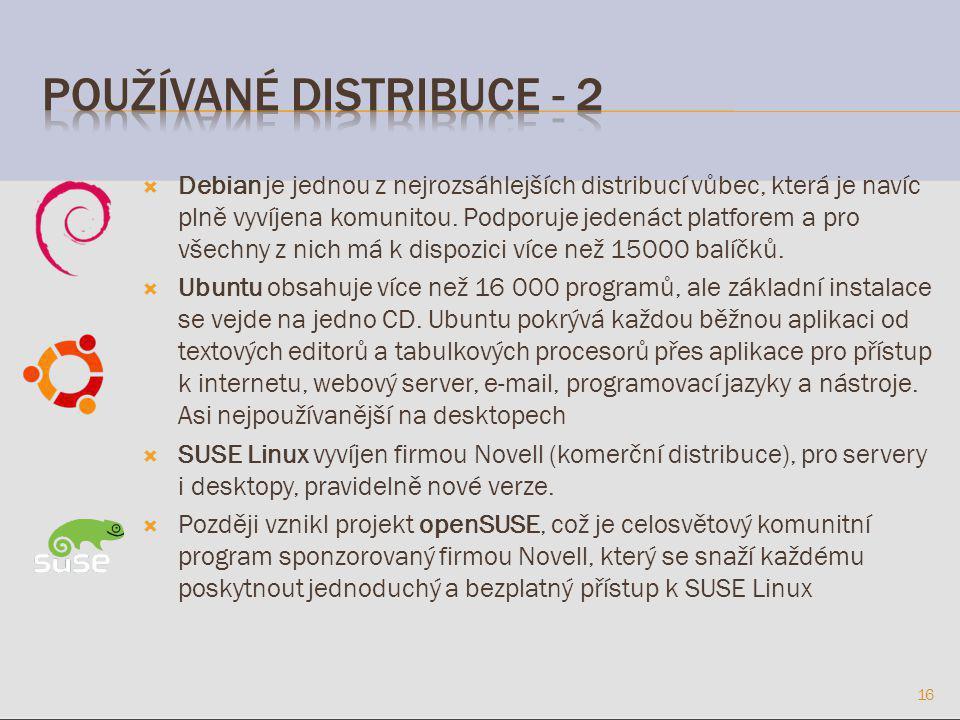  Debian je jednou z nejrozsáhlejších distribucí vůbec, která je navíc plně vyvíjena komunitou.