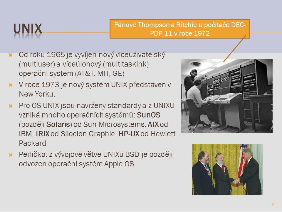  Od roku 1965 je vyvíjen nový víceuživatelský (multiuser) a víceúlohový (multitaskink) operační systém (AT&T, MIT, GE)  V roce 1973 je nový systém UNIX představen v New Yorku.