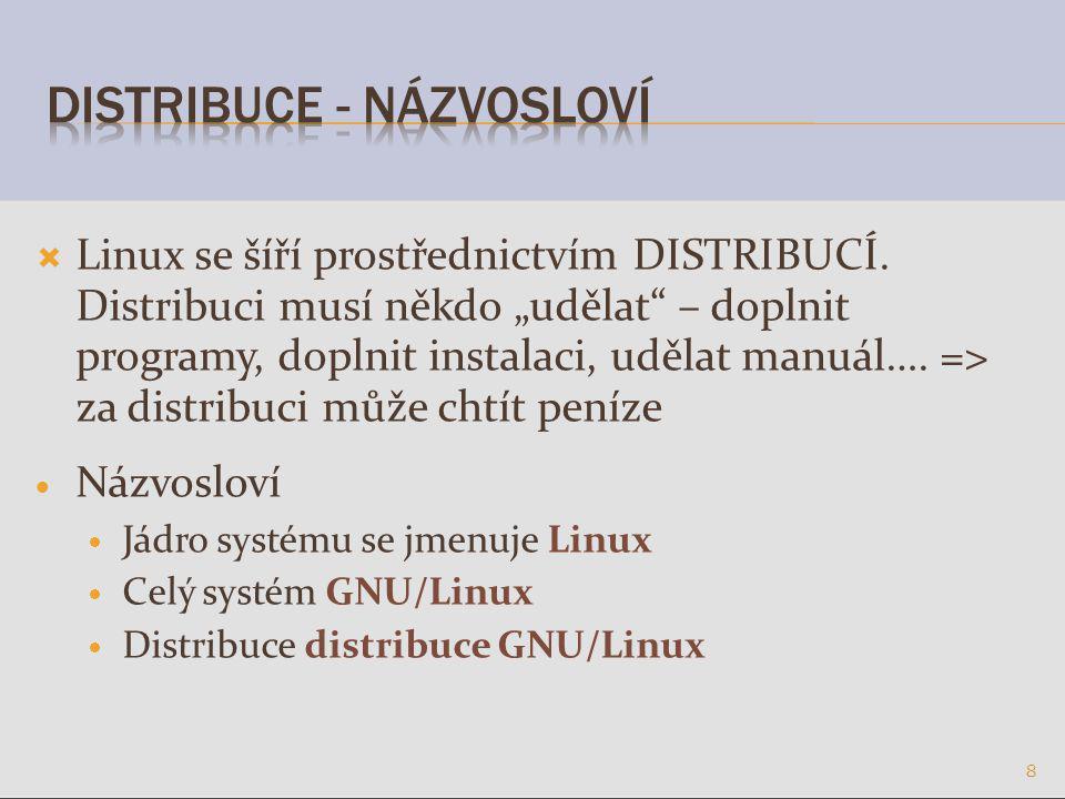  Linux se šíří prostřednictvím DISTRIBUCÍ.