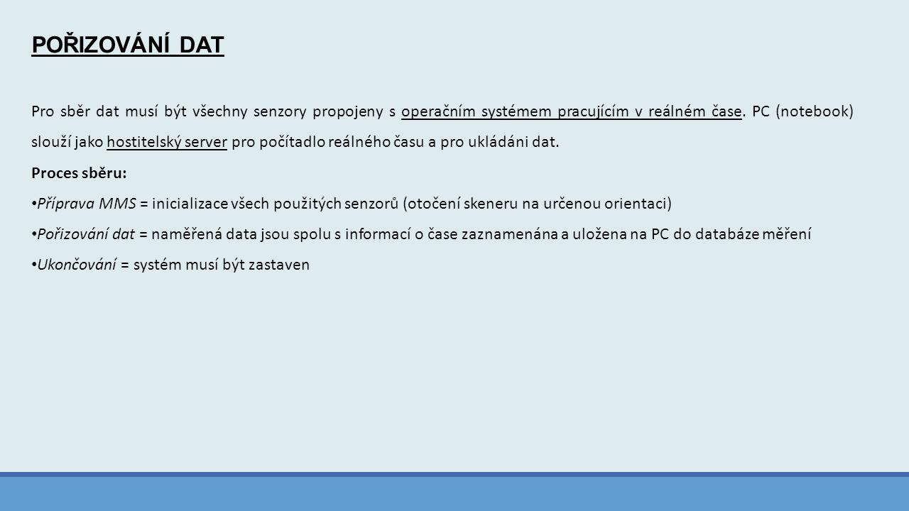 POŘIZOVÁNÍ DAT Pro sběr dat musí být všechny senzory propojeny s operačním systémem pracujícím v reálném čase. PC (notebook) slouží jako hostitelský s
