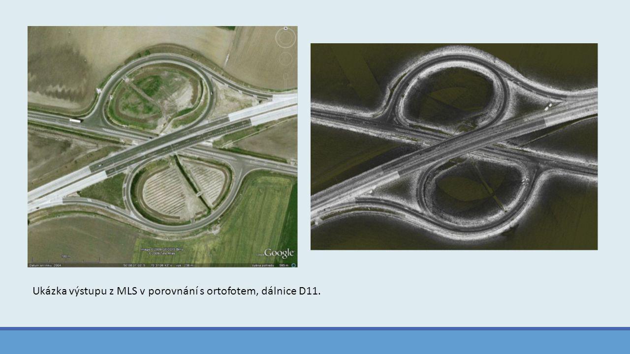 Ukázka výstupu z MLS v porovnání s ortofotem, dálnice D11.