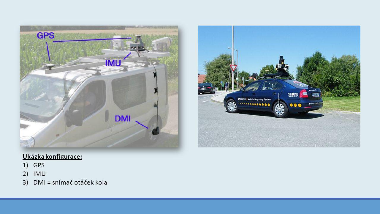 Ukázka konfigurace: 1)GPS 2)IMU 3)DMI = snímač otáček kola