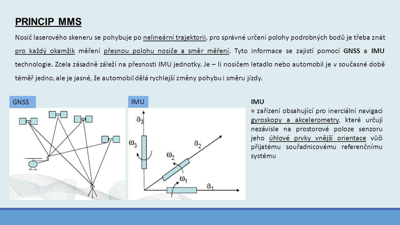 PRINCIP MMS Nosič laserového skeneru se pohybuje po nelineární trajektorii, pro správné určení polohy podrobných bodů je třeba znát pro každý okamžik měření přesnou polohu nosiče a směr měření.