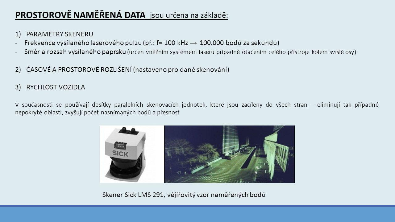 PROSTOROVĚ NAMĚŘENÁ DATA jsou určena na základě: 1)PARAMETRY SKENERU -Frekvence vysílaného laserového pulzu (př.: f= 100 kHz → 100.000 bodů za sekundu) -Směr a rozsah vysílaného paprsku (určen vnitřním systémem laseru případně otáčením celého přístroje kolem svislé osy) 2)ČASOVÉ A PROSTOROVÉ ROZLIŠENÍ (nastaveno pro dané skenování) 3)RYCHLOST VOZIDLA V současnosti se používají desítky paralelních skenovacích jednotek, které jsou zacíleny do všech stran – eliminují tak případné nepokryté oblasti, zvyšují počet nasnímaných bodů a přesnost Skener Sick LMS 291, vějířovitý vzor naměřených bodů