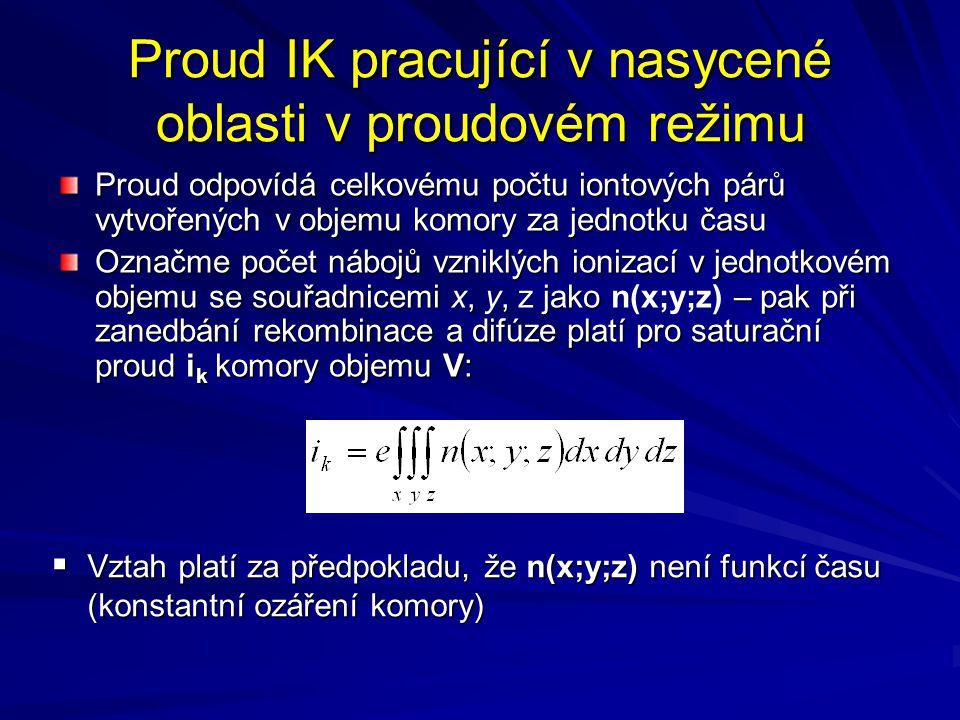 Proud IK pracující v nasycené oblasti v proudovém režimu Proud odpovídá celkovému počtu iontových párů vytvořených v objemu komory za jednotku času Oz