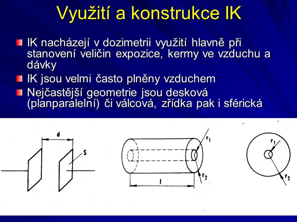 Využití a konstrukce IK IK nacházejí v dozimetrii využití hlavně při stanovení veličin expozice, kermy ve vzduchu a dávky IK jsou velmi často plněny v