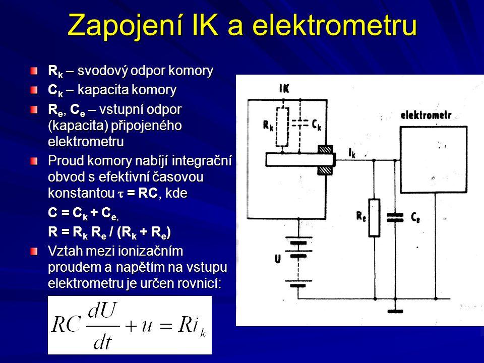 Zapojení IK a elektrometru R k – svodový odpor komory C k – kapacita komory R e, C e – vstupní odpor (kapacita) připojeného elektrometru Proud komory