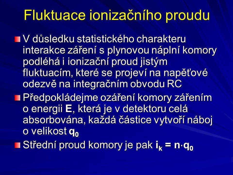 Fluktuace ionizačního proudu V důsledku statistického charakteru interakce záření s plynovou náplní komory podléhá i ionizační proud jistým fluktuacím