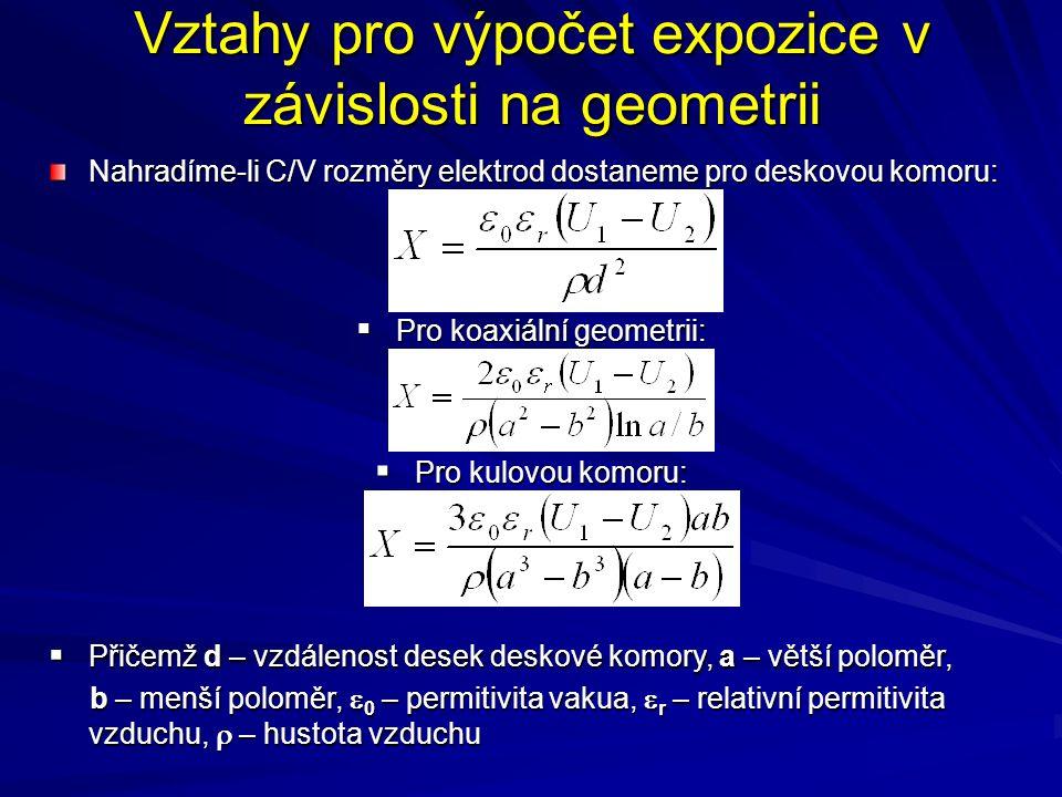 Vztahy pro výpočet expozice v závislosti na geometrii Nahradíme-li C/V rozměry elektrod dostaneme pro deskovou komoru:  Pro koaxiální geometrii:  Pr