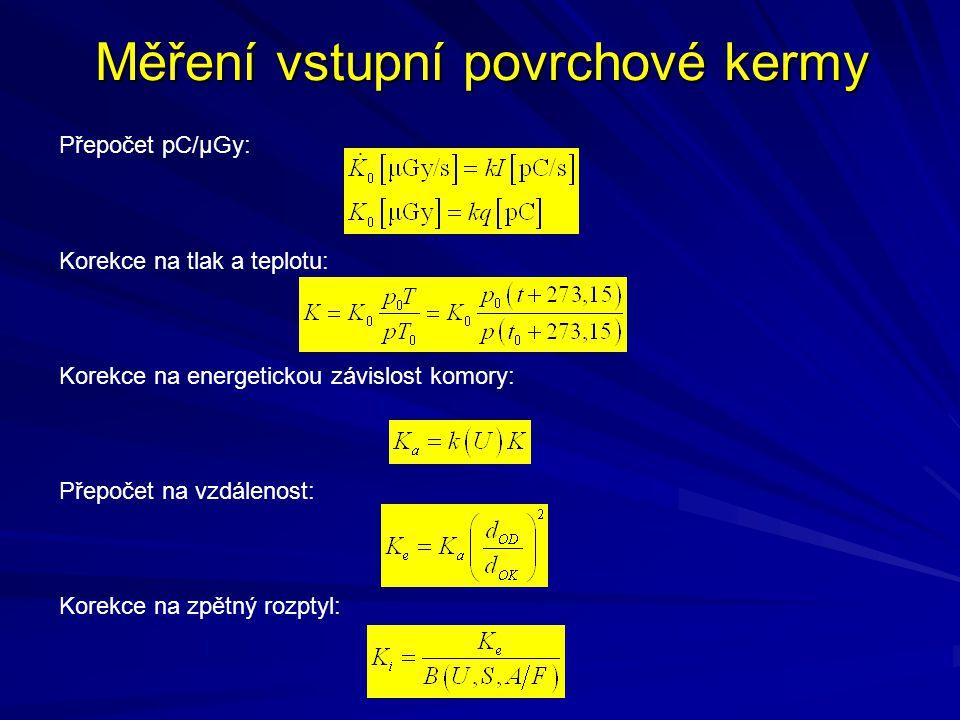Měření vstupní povrchové kermy Přepočet pC/µGy: Korekce na tlak a teplotu: Korekce na energetickou závislost komory: Přepočet na vzdálenost: Korekce n