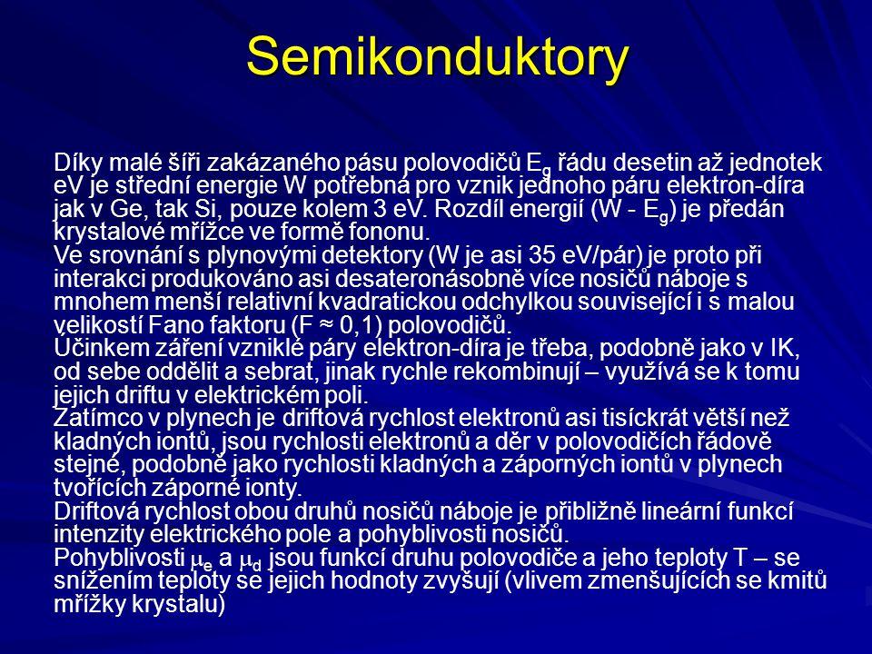 Semikonduktory Díky malé šíři zakázaného pásu polovodičů E g řádu desetin až jednotek eV je střední energie W potřebná pro vznik jednoho páru elektron