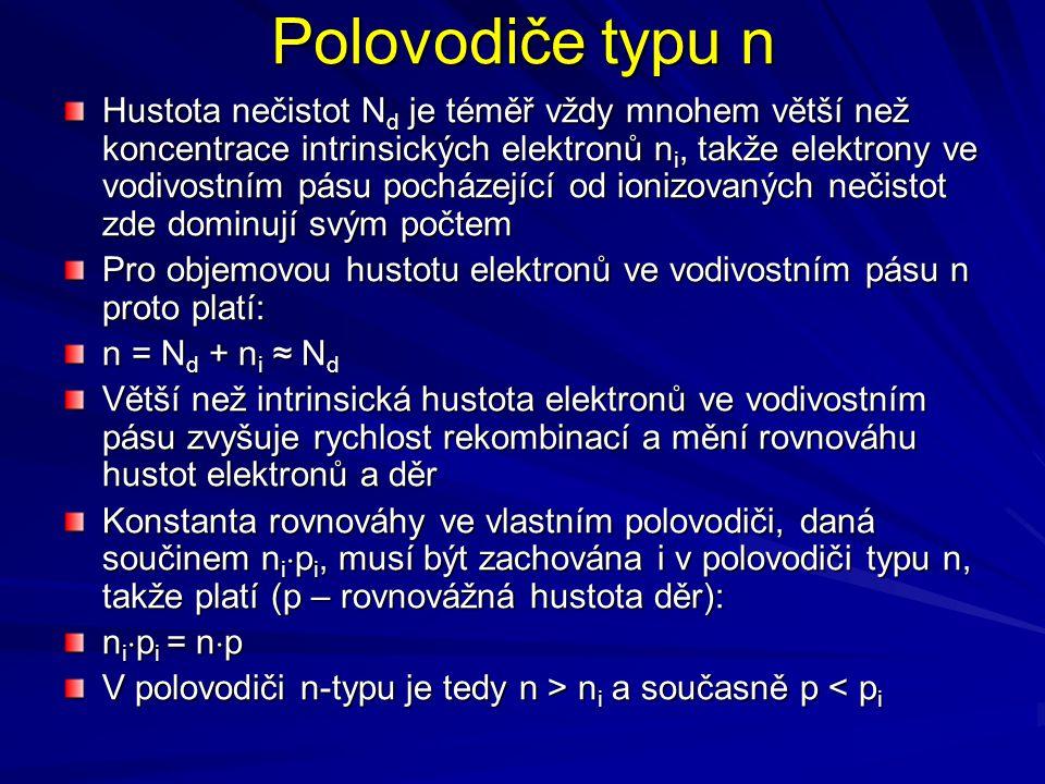 Polovodiče typu n Hustota nečistot N d je téměř vždy mnohem větší než koncentrace intrinsických elektronů n i, takže elektrony ve vodivostním pásu poc