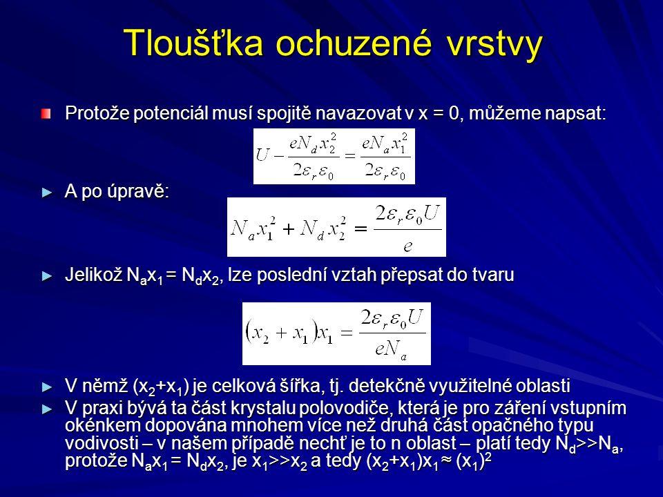 Tloušťka ochuzené vrstvy Protože potenciál musí spojitě navazovat v x = 0, můžeme napsat: ► A po úpravě: ► Jelikož N a x 1 = N d x 2, lze poslední vzt