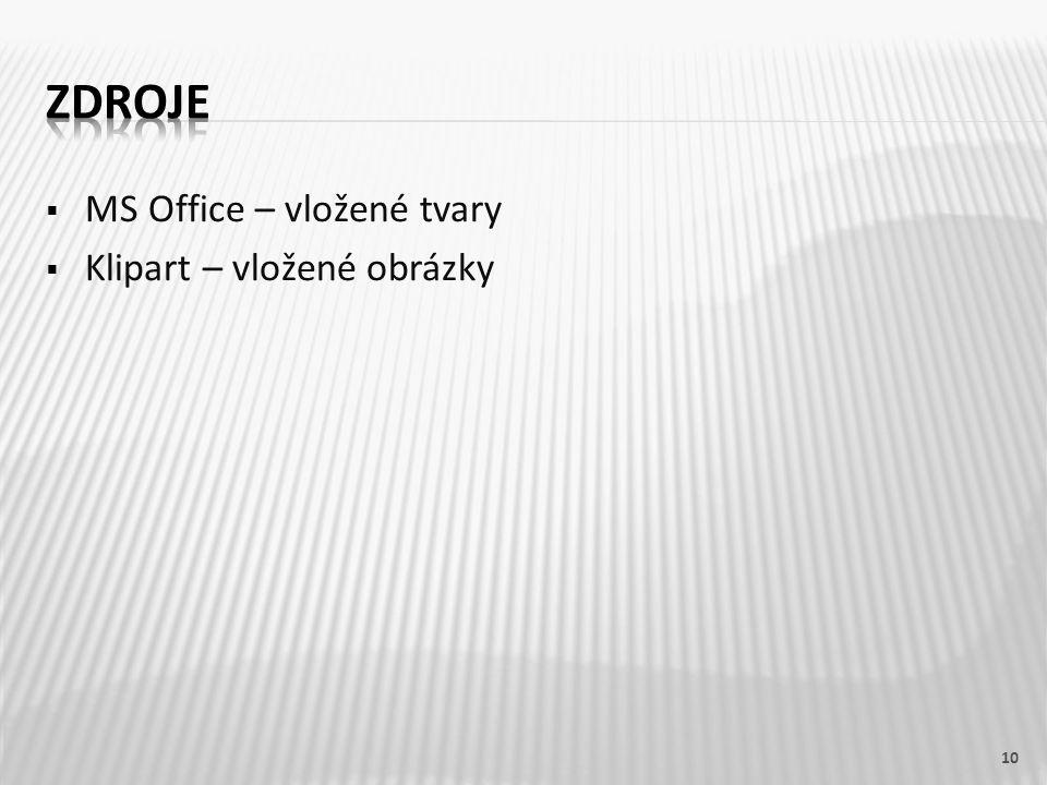 MS Office – vložené tvary  Klipart – vložené obrázky 10