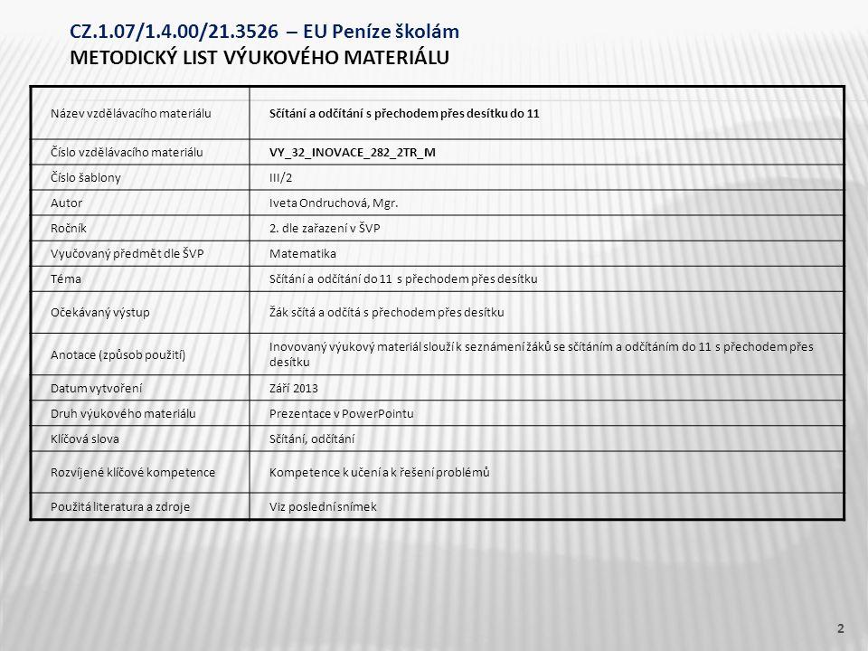 Název vzdělávacího materiáluSčítání a odčítání s přechodem přes desítku do 11 Číslo vzdělávacího materiáluVY_32_INOVACE_282_2TR_M Číslo šablonyIII/2 AutorIveta Ondruchová, Mgr.