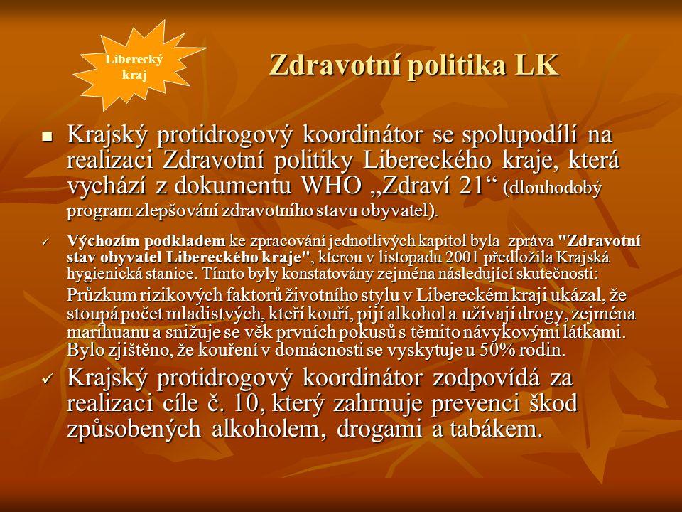 Zdravotní politika LK Krajský protidrogový koordinátor se spolupodílí na realizaci Zdravotní politiky Libereckého kraje, která vychází z dokumentu WHO