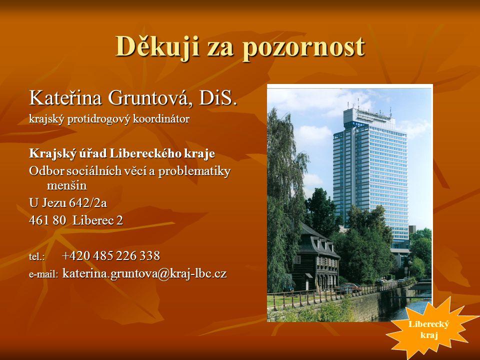 Děkuji za pozornost Kateřina Gruntová, DiS. krajský protidrogový koordinátor Krajský úřad Libereckého kraje Odbor sociálních věcí a problematiky menši