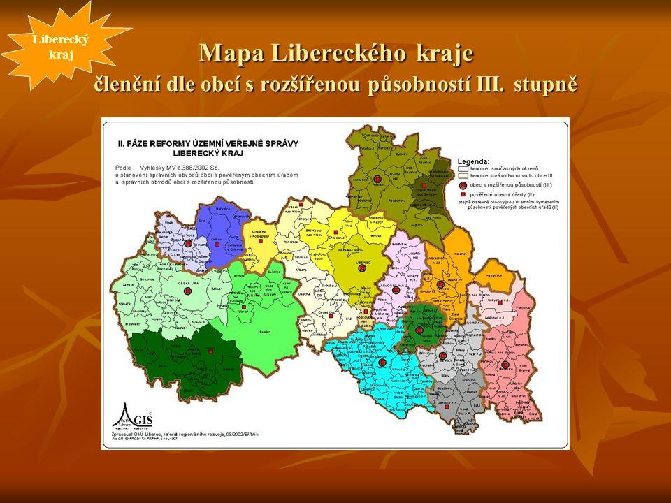 Mapa Libereckého kraje členění dle obcí s rozšířenou působností III. stupně Liberecký kraj