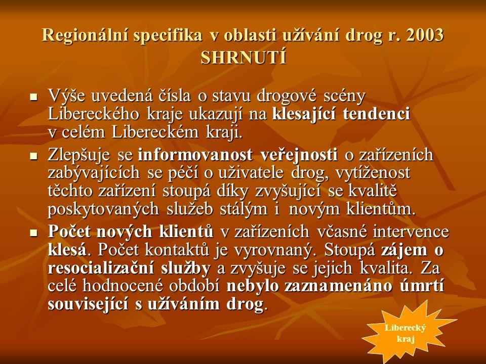 Regionální specifika v oblasti užívání drog r. 2003 SHRNUTÍ Výše uvedená čísla o stavu drogové scény Libereckého kraje ukazují na klesající tendenci v