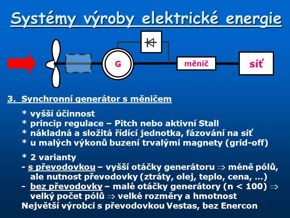 Systémy výroby elektrické energie 3.Synchronní generátor s měničem *vyšší účinnost *princip regulace – Pitch nebo aktivní Stall *nákladná a složitá ří