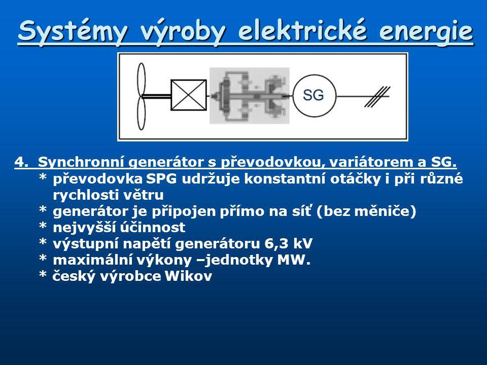Systémy výroby elektrické energie 4.Synchronní generátor s převodovkou, variátorem a SG. *převodovka SPG udržuje konstantní otáčky i při různé rychlos