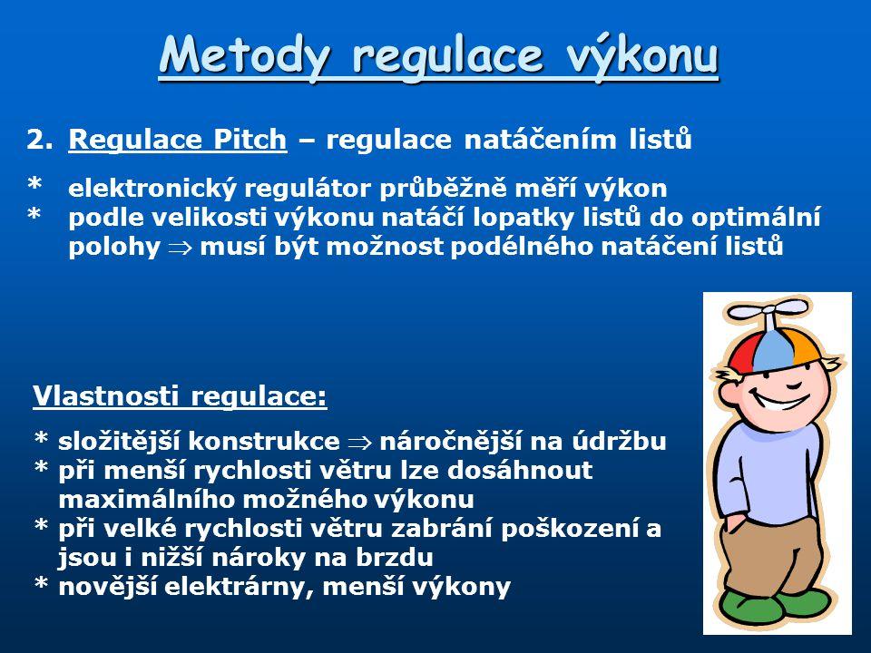 Metody regulace výkonu 2.Regulace Pitch – regulace natáčením listů * elektronický regulátor průběžně měří výkon *podle velikosti výkonu natáčí lopatky