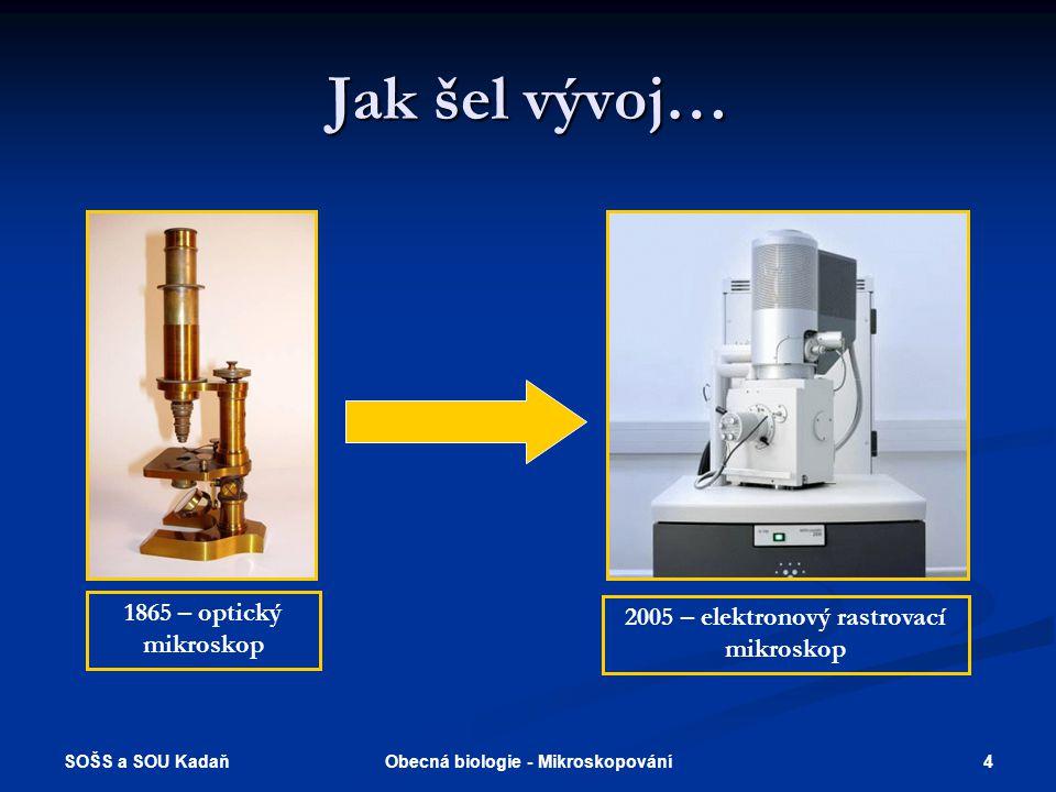 SOŠS a SOU Kadaň 4Obecná biologie - Mikroskopování Jak šel vývoj… 1865 – optický mikroskop 2005 – elektronový rastrovací mikroskop