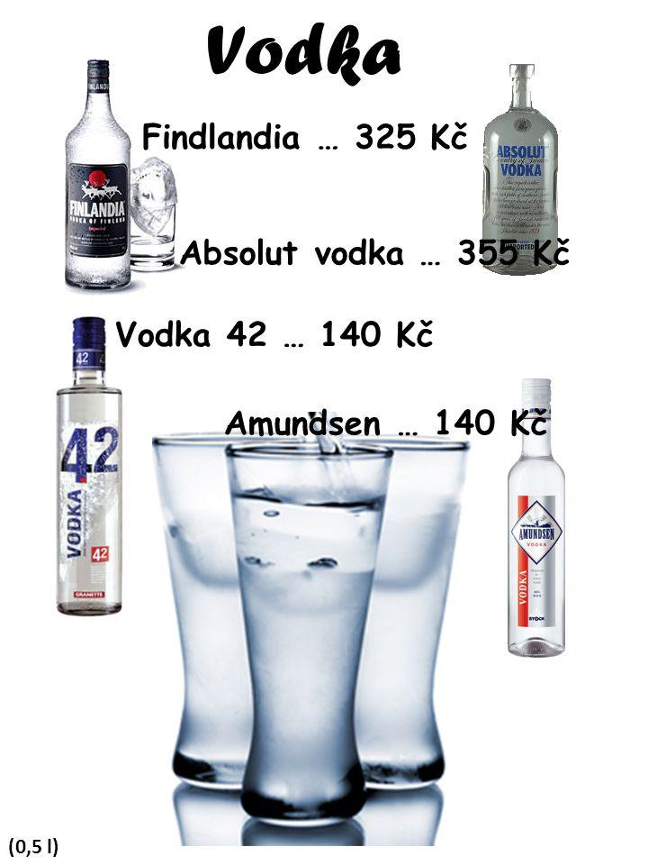 Vodka (0,5 l) Findlandia … 325 Kč Absolut vodka … 355 Kč Vodka 42 … 140 Kč Amundsen … 140 Kč
