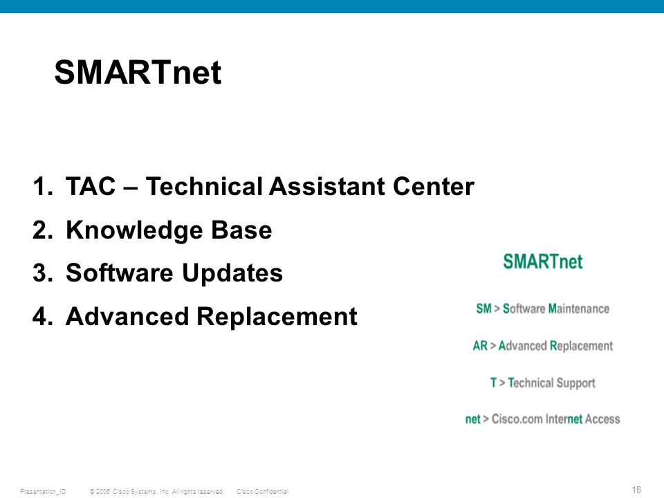 © 2006 Cisco Systems, Inc. All rights reserved.Cisco ConfidentialPresentation_ID 18 SMARTnet Cisco/ Vendor 1.TAC – Technical Assistant Center 2.Knowle