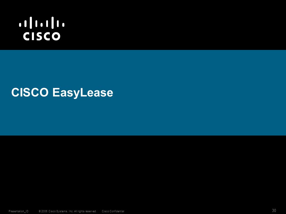 © 2006 Cisco Systems, Inc. All rights reserved.Cisco ConfidentialPresentation_ID 30 CISCO EasyLease