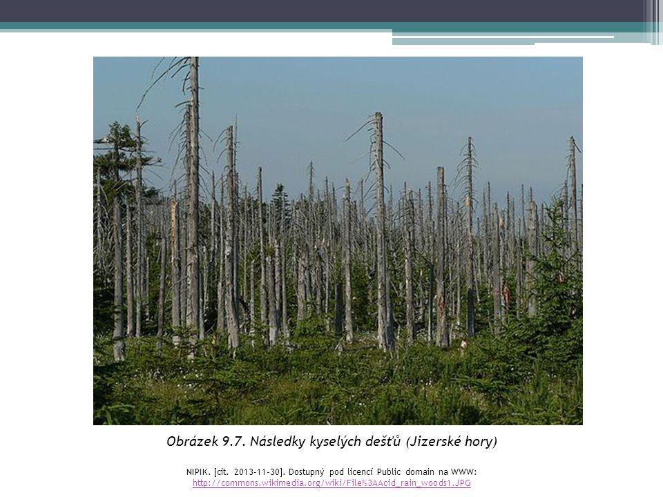 Obrázek 9.7. Následky kyselých dešťů (Jizerské hory) NIPIK.  cit. 2013-11-30 . Dostupný pod licencí Public domain na WWW: http://commons.wikimedia.o
