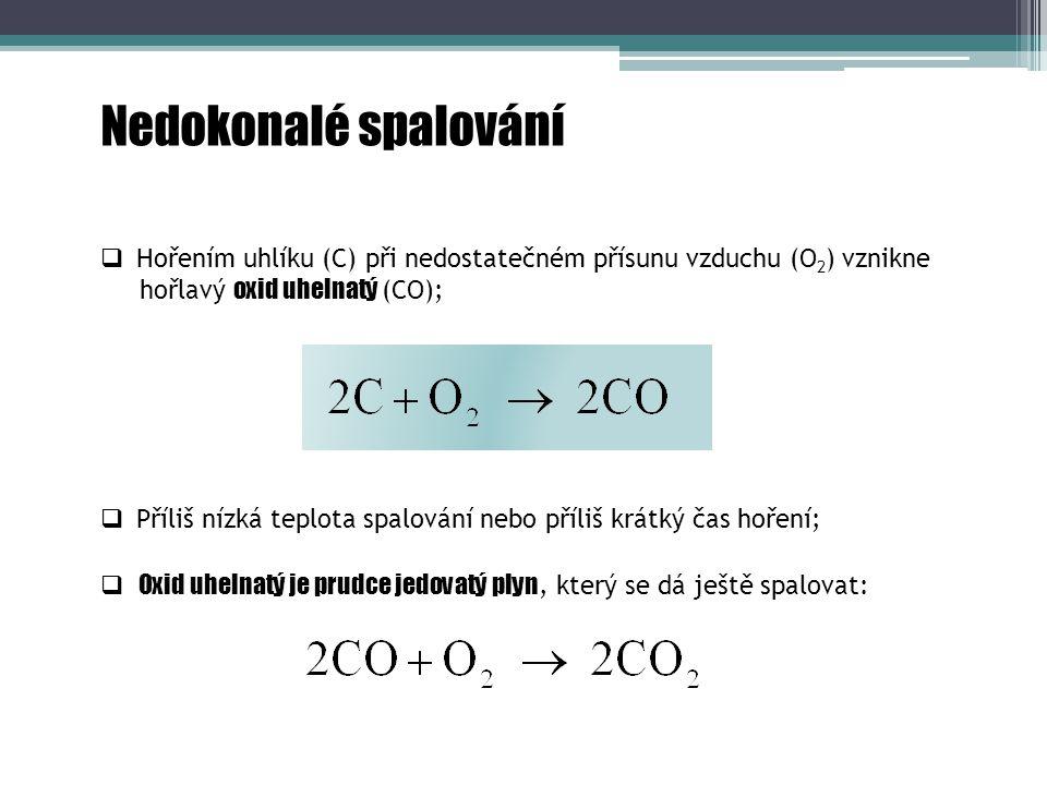 Zplodiny hoření  Oxid uhelnatý (CO):  Kouřové plyny jsou směsí produktů hoření (CO, CO 2, SO 2, NO x ), zbytku kyslíku (O 2 ), vzdušného dusíku, vodních par a dalších složek;  Silně toxický bezbarvý plyn bez chuti a zápachu;  Lehčí než vzduch;  Vzniká při nedokonalém spalování (lokální topeniště, automobily);  Oxid uhličitý (CO 2 ):  Nedýchatelný bezbarvý plyn bez chuti a zápachu;  Těžší než vzduch;  Má vliv na globální oteplování (skleníkový efekt);