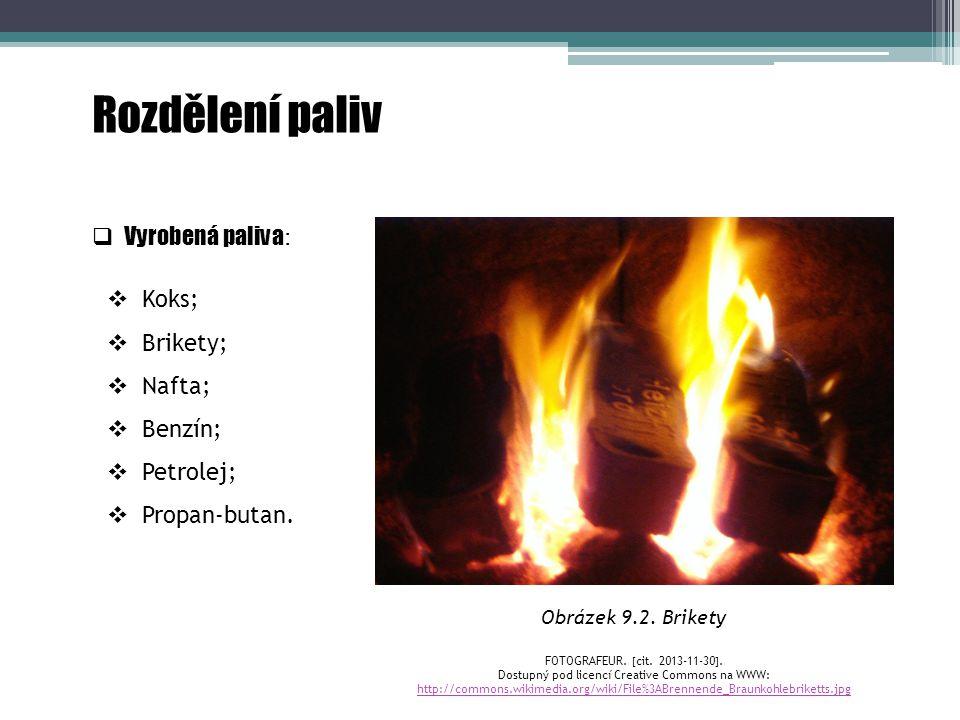  Vyrobená paliva :  Koks;  Brikety;  Nafta;  Benzín;  Petrolej;  Propan-butan. Rozdělení paliv Obrázek 9.2. Brikety FOTOGRAFEUR.  cit. 2013-11