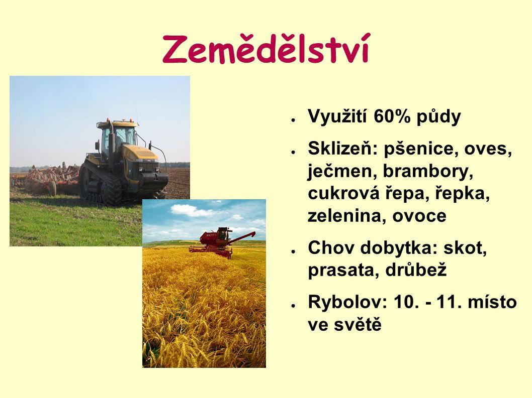 Zemědělství ● Využití 60% půdy ● Sklizeň: pšenice, oves, ječmen, brambory, cukrová řepa, řepka, zelenina, ovoce ● Chov dobytka: skot, prasata, drůbež