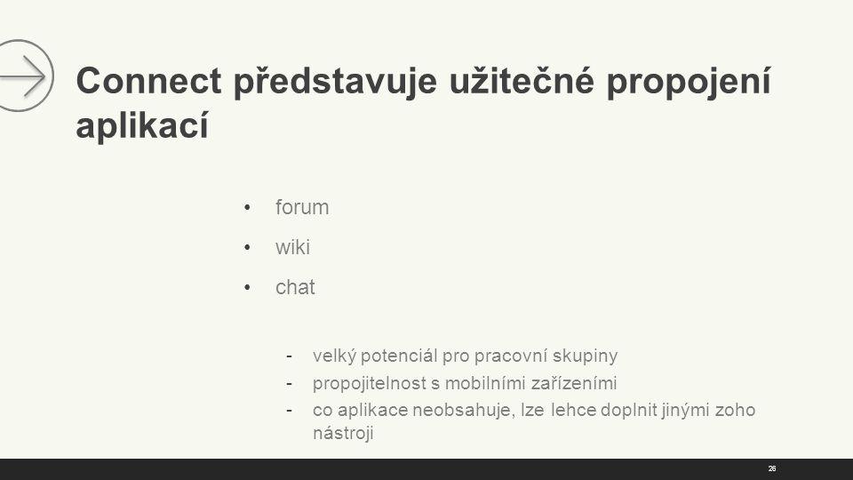 26 Connect představuje užitečné propojení aplikací forum wiki chat  velký potenciál pro pracovní skupiny  propojitelnost s mobilními zařízeními  co aplikace neobsahuje, lze lehce doplnit jinými zoho nástroji
