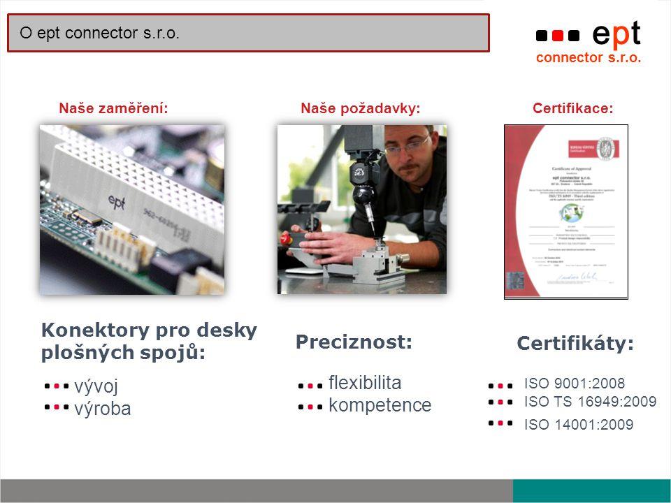 Konektory pro desky plošných spojů: vývoj výroba Preciznost: flexibilita kompetence Naše zaměření:Naše požadavky: ept connector s.r.o. O ept connector