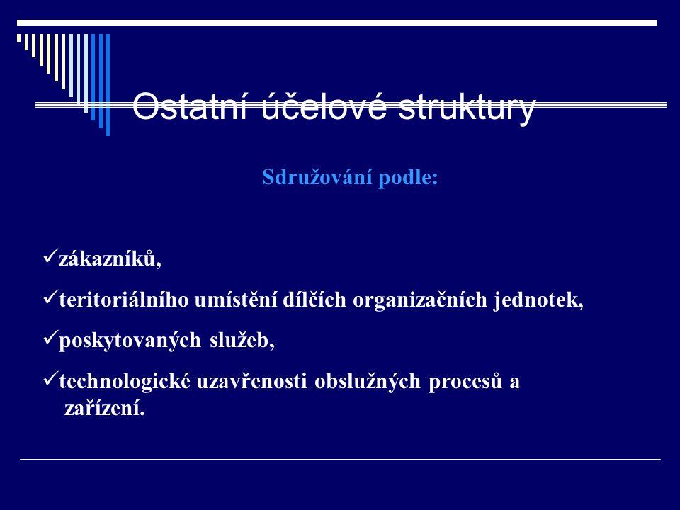 Ostatní účelové struktury Sdružování podle: zákazníků, teritoriálního umístění dílčích organizačních jednotek, poskytovaných služeb, technologické uza