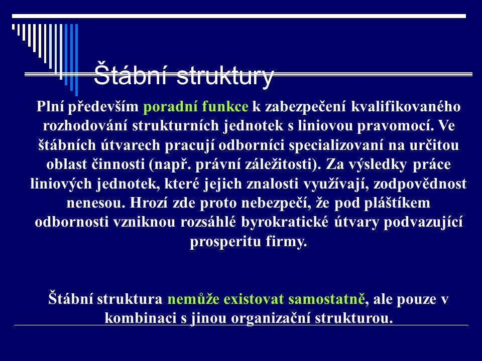 Štábní struktury Plní především poradní funkce k zabezpečení kvalifikovaného rozhodování strukturních jednotek s liniovou pravomocí.
