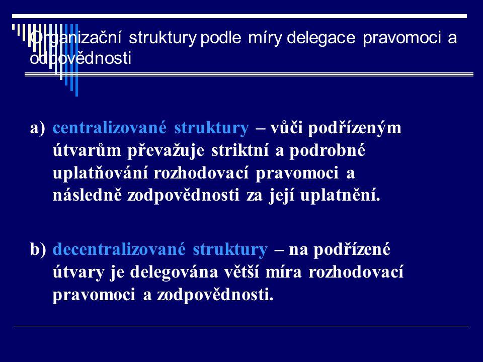 Organizační struktury podle míry delegace pravomoci a odpovědnosti a) centralizované struktury – vůči podřízeným útvarům převažuje striktní a podrobné