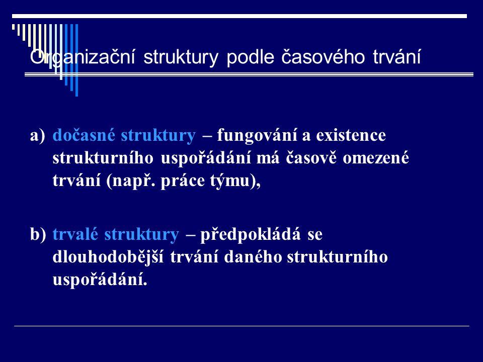 Organizační struktury podle časového trvání a) dočasné struktury – fungování a existence strukturního uspořádání má časově omezené trvání (např. práce