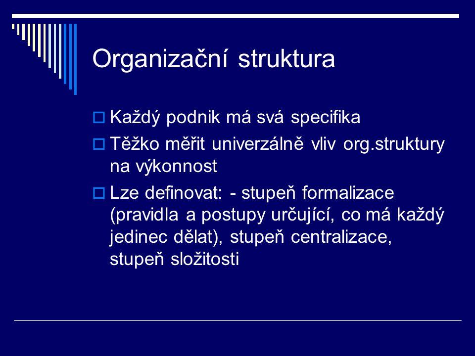 Organizační struktura  Každý podnik má svá specifika  Těžko měřit univerzálně vliv org.struktury na výkonnost  Lze definovat: - stupeň formalizace