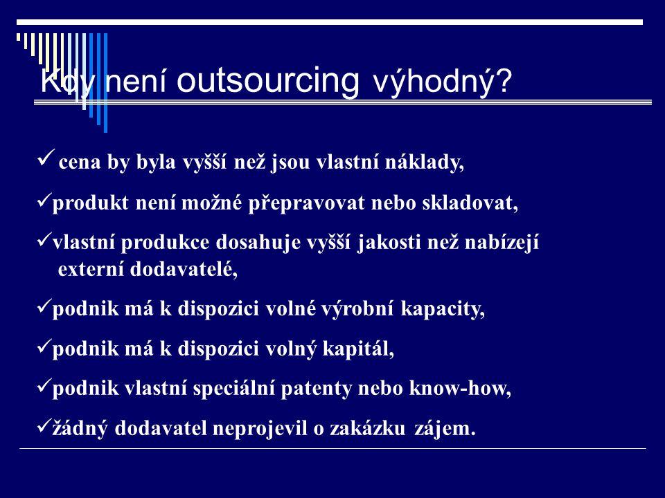 Kdy není outsourcing výhodný? cena by byla vyšší než jsou vlastní náklady, produkt není možné přepravovat nebo skladovat, vlastní produkce dosahuje vy