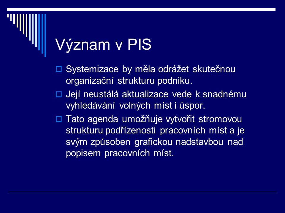 Význam v PIS  Systemizace by měla odrážet skutečnou organizační strukturu podniku.  Její neustálá aktualizace vede k snadnému vyhledávání volných mí