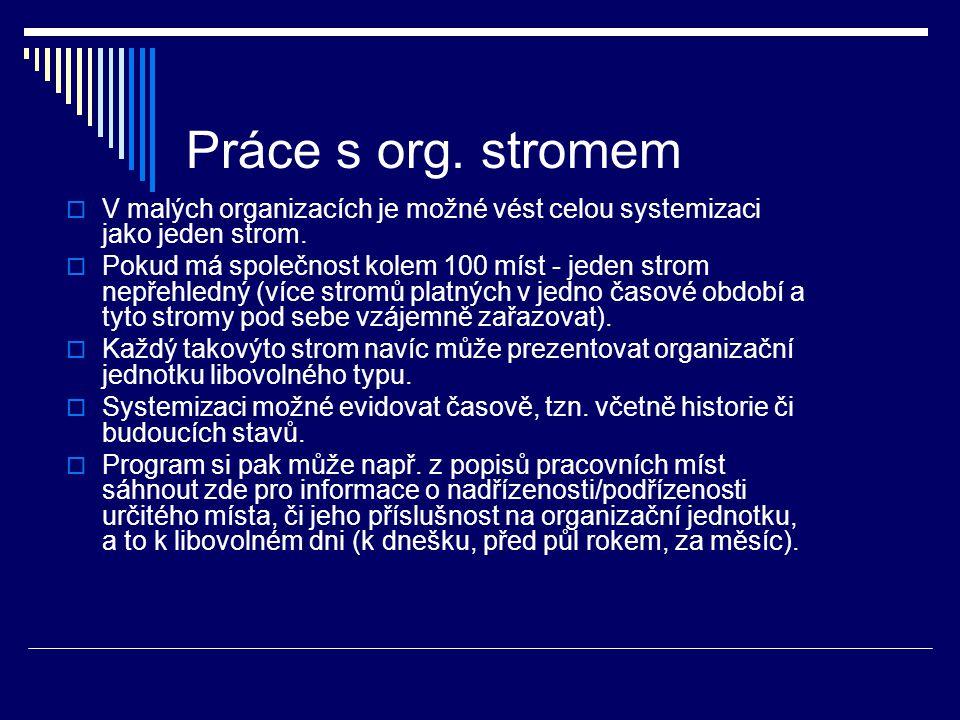 Práce s org. stromem  V malých organizacích je možné vést celou systemizaci jako jeden strom.  Pokud má společnost kolem 100 míst - jeden strom nepř